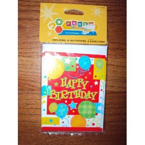 Party Like Crazy Happy Birthday Invitations 8ct.