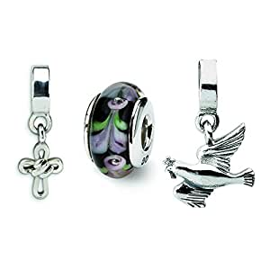 sterling silver religious boxed bead set charm