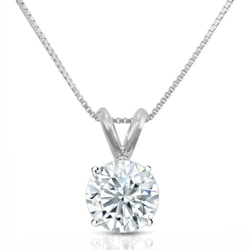 PARIKHS Round Cut Diamond Solitaire Pendant Premium Quality in 14k White Gold (0.04 ctw, G-H color, SI1 clarity)