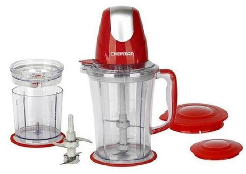Chefman All-In-One Blender with Bonus Food Chopper, Red
