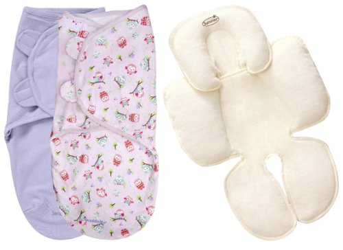 Summer Infant Kiddopotmaus Swaddleme 2 Pack With Terry Snuzzler Head & Body Support, Large, Owl front-537926