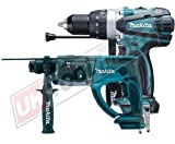 Makita BHR202Z Cordless 18V LXT SDS Plus Rotary Hammer Drill Plus Makita BHP458Z 18V Cordless LXT Li-Ion Compact 2 Speed Combi Drill (Body Only)