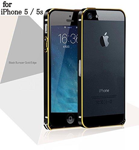 iPhone5/5s アルミバンパー 極薄0.7mm 超軽量 ネジなし ワンタッチ装着 保管用袋付 (マットブラックxゴールドエッジ)