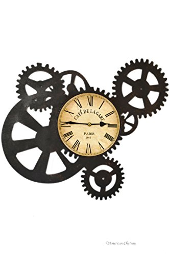 Large Metal Gears Cafe De La Gare French Coffee Decor Train Station Wall Clock