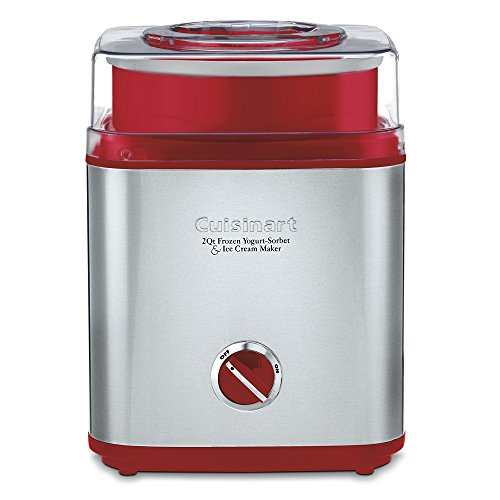 Best Buy! Cuisinart ICE-30R Pure Indulgence Frozen Yogurt Sorbet & Ice Cream Maker, 2 quart, Brushed Metal/Red