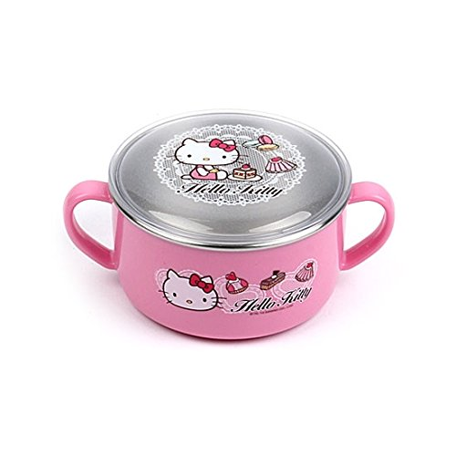 Lock & Lock Hello Kitty Baby Lace children Stainless steel bowl with Handle and Lid LKT481 - 1