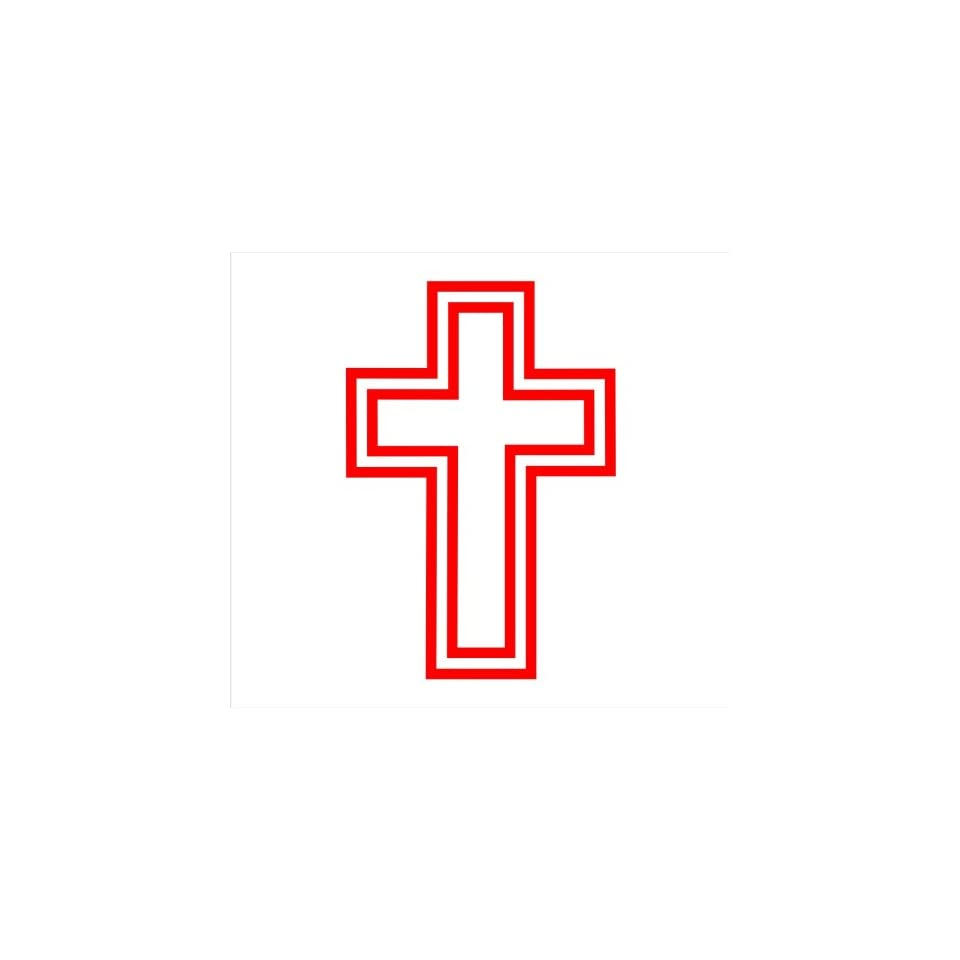 Christian Cross, Religious Cross Decal Sticker Laptop, Notebook, Window, Car, Bumper, Etc Stickers 3x4.5in. in RED Exterior Window Sticker with