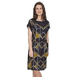 Desi Belle Casual Black Printed Rayon Dress