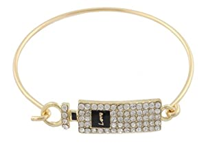 Ladies Gold with Black Iced Out Love Perfume Bottle Bangle Bracelet