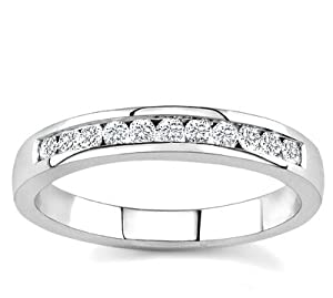 10k White Gold or Yellow Gold Channel-Set Diamond Band (H/I2-I3, 1/4 ct. tw.)