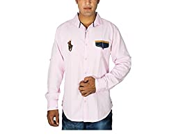 China Collection Men's Casual Shirt(CC02L_Pink_Large)
