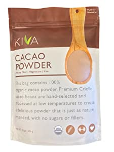 Kiva Organic Cacao Powder (Cocoa - Chocolate Powder) - Non-GMO, Raw, Vegan, 16-Ounce Pouch
