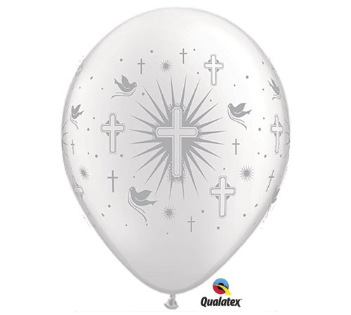 "11"" Cross & Dove Silver Latex Balloons - Package of 12"