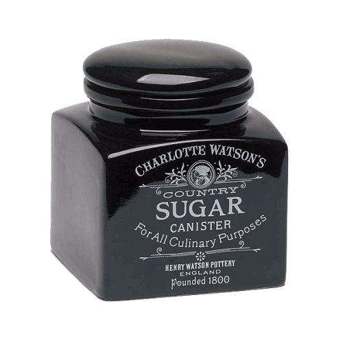 Charlotte Watson Square Small Sugar Canister - Black
