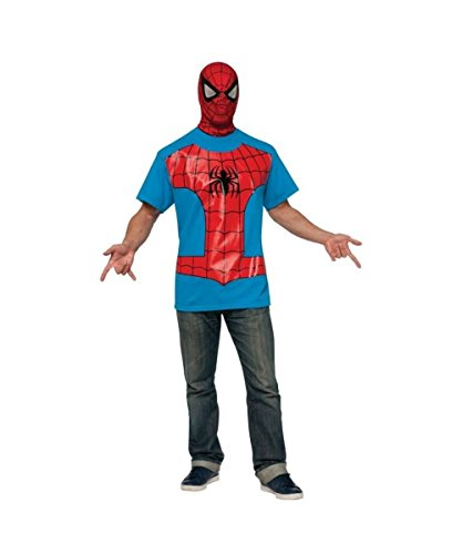Marvel Classic Spiderman Adult T?shirt Costume and Mask