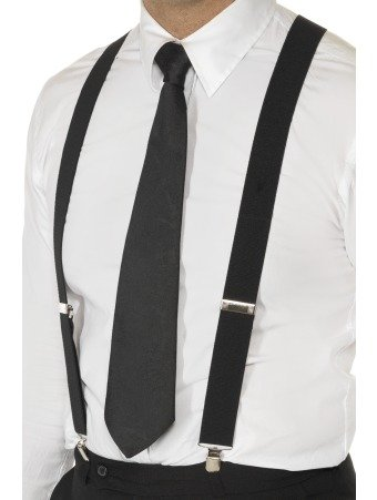 Men / Ladies Plain Work Fashion Trouser Braces Adjustable Suspenders Silver Clip Heavy Duty 25mm Wide (Black)