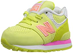 New Balance KL574 State Fair Running Shoe (Infant/Toddler), Yellow/Pink, 3 M US Infant