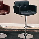 Adjustable Bar Stool with Arms in Black Faux Leather