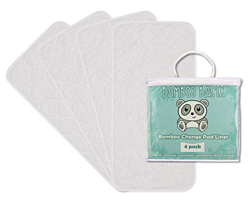 Bamboo Basix Baby Change Pad Liner – 4 Pack, Large 26×12.5″ – Ultra-soft, Waterproof, Machine Washable and Dryer Friendly