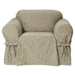Classic Slipcovers Washed Damask Chair Slipcover, Sage