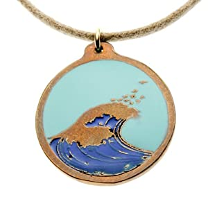 Hokusai Wave Round Pendant Necklace with Light Blue Sky on Adjustable Natural Fiber Cord
