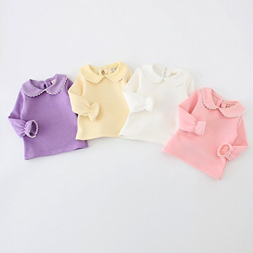 Baby Girls Cotton Long Sleeve T Shirt Blouse Tops Bottom Tee 18-24Months White
