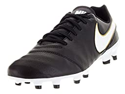 Nike Men\'s Tiempo Genio II Leather Fg Black/White/Metallic Gold Soccer Cleat 10 Men US
