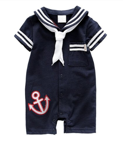 Baby Boy Navy Sailor Anchor Romper Jumpsuit Onesie (100/18-24 Months, Navy) front-216229