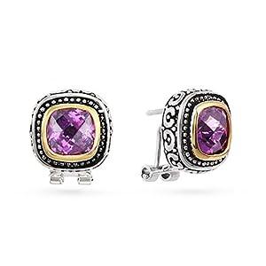 Bali Style Omega Clip Amethyst CZ Earrings