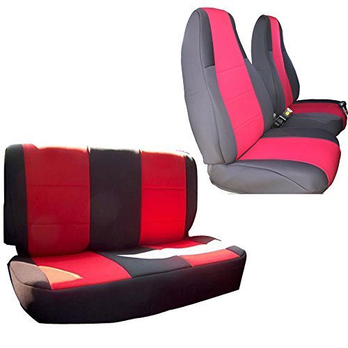 INNOCESSORIES Jeep Wrangler Neoprene Seat Coves Combo Set fit for 1991-1995 Jeep Wrangler Yj Red/Black (Yj Bucket Seats compare prices)