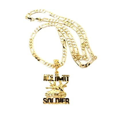 amazoncom small gold iced out no limit soldier with a 24