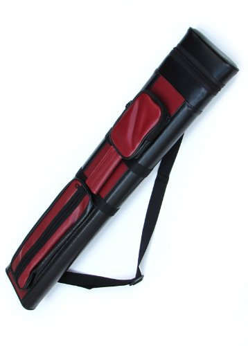 Discover Bargain 2x2 Hard Pool Cue Billiard Stick Carrying Case, Red-Black