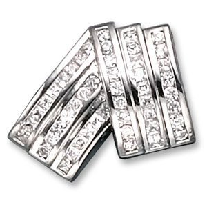 C.Z. Rhodium (.925) Sterling Silver Slider