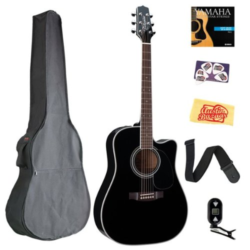 Takamine Ef341Sc Dreadnought Cutaway Acoustic-Electric Guitar Bundle With Gig Bag, Tuner, Strap, Strings, Picks, And Polishing Cloth - Gloss Black