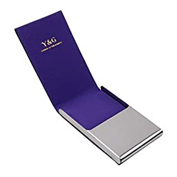 Purple Personal Card Case design Black Stainl?ess Steel Y&G leather card holder with gift box CC1009  Purple