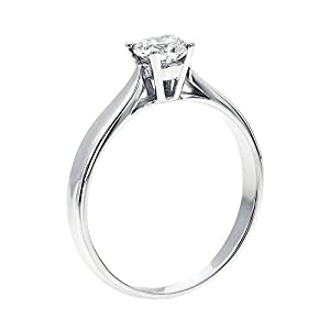 GIA Certified 14k white-gold Round Cut Diamond Engagement Ring (0.34 cttw, E Color, SI1 Clarity)