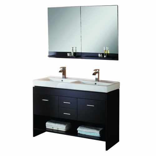 Virtu USA MD-423-C-ES Gloria 47-Inch Double Sink Bathroom Vanity  Ceramic Designer Basins, Chrome Faucets, and Mirror with Shelf, Espresso Finish