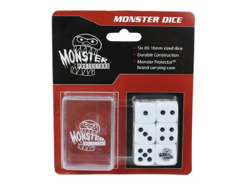 Dice - Monster Protectors Set of 6 D6 Logo Die with Pocket Carrying Case (White)