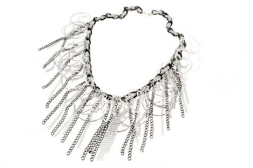 Black, Silver Colour, Diamond Cut Chain Necklet