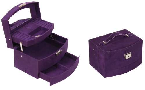 Suede Handle Automatic Jewellery Jewel Case Gift Box 20x15x12.5cm Purple J30 P