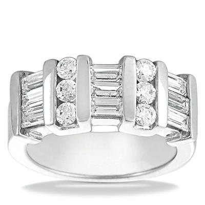 2.00 ct Ladies Round and Baguette Cut Diamond Wedding Band In Channel Setting in 14 kt White Gold