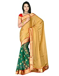 Sehgall Saree Indian Bollywood Designer Ethnic Professional Designer Material Faux Geogette Gold-Green