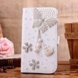 Matek LG Optimus ii L5 E610 E612 Jewelry Bling Diamond Gem Leather Smart Case Cover With Magnetic Flip Horizontals & Card Holder - Pearl Butterfly Flower