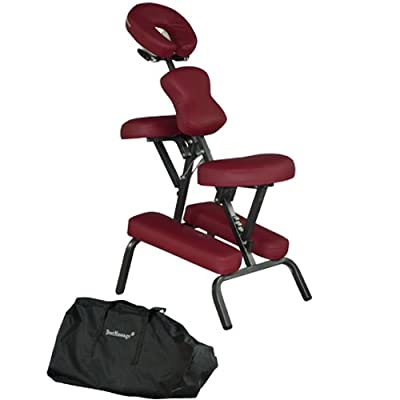 "Burgundy 4"" Portable Massage Chair Tattoo Spa Free Carry Case"