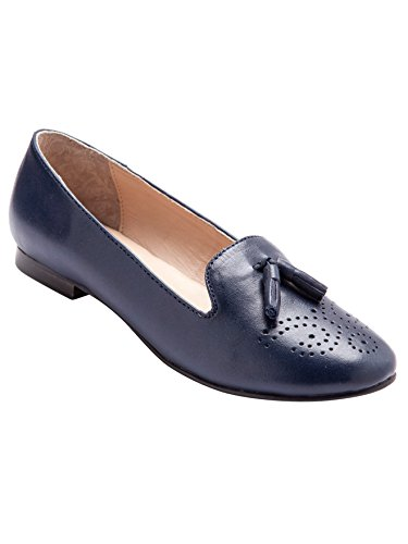 Balsamik - Mocassini slippers con pompon pianta larga - donna - Size : 38 - Colour : Blu marino