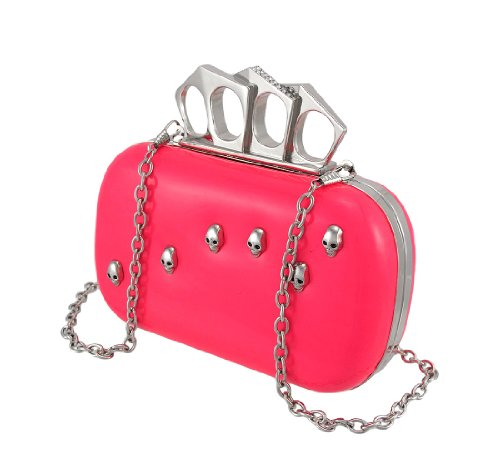 Glossy Hot Pink Knuckle Duster Clutch Purse with Skull Studs/Rhinestones
