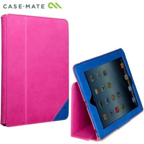 Case-Mate 日本正規品 iPad Retinaディスプレイモデル (第4世代) / iPad (第3世代) / iPad 2 対応 COLOR BLOCKS Solid Leather Slim Stand Case, Lipstick Pink / Marine スタンド機能つき ブックタイプ 本革レザー スリムスタンド ケース「カラーブロック」 リップスティックピンク/マリン CM019678