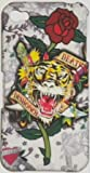 TIGER WITH ROSE DESIGN ED HARDY STYLE TYPE HARD CASE BACK COVER FOR IPHONE 4 4S/FREE SCREEN PROTECTOR