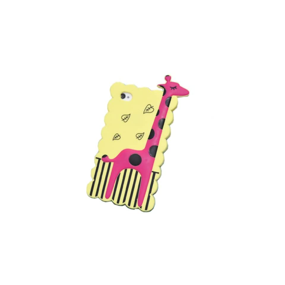 DE New Fashion 3D Cartoon Animal Hot Series Giraffe Zebra Fawn Design Style High Quality Soft Silicone Case Cover Skin Compatible for Apple iPhone 5 5G 5th Yellow Bottom Purple Cell Phones & Accessories