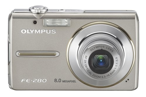 Olympus Stylus FE-280 8MP Digital Camera with Dual Image Stabilized 3x Optical Zoom (Silver)